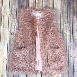 Zara Girls 13/14 Faux Fur Blush Pink Vest EUC
